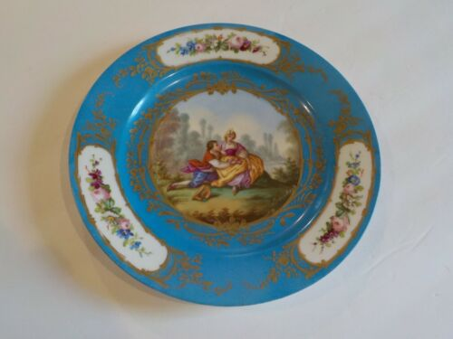 "18th C. Sevres Porcelain 9.75"" Cabinet Plate, Courting Scene signed Boucher"