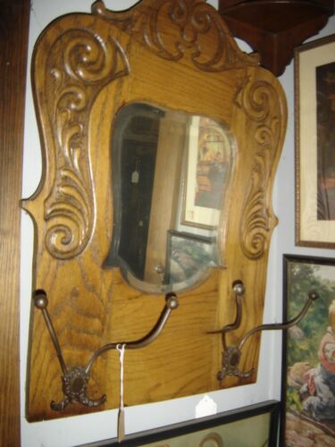 Large Oak Hat Tree Mirror Incised design top and both sides with Hooks.  8045