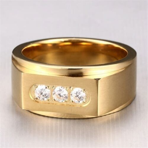 18K GOLD EP DIAMOND SIMULATED ROUND CUT MENS DRESS RING SIZE 8-12 YOU CHOOSE