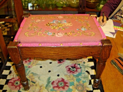 Antique Oak Footstool with turned legs with Needlepoint Cover.8061