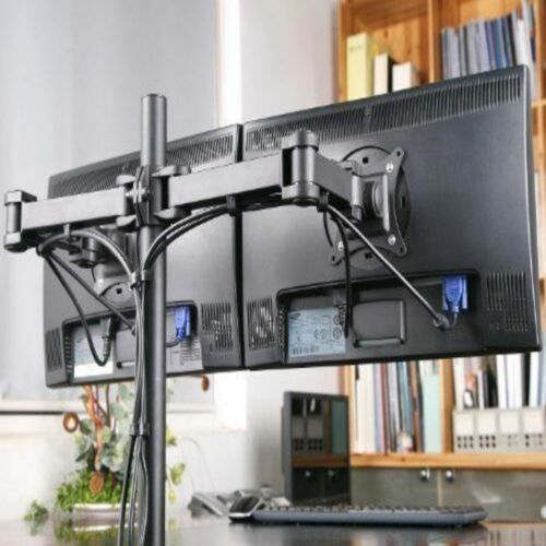 """Dual LED monitor stand 2 arm holds two LCD screen TV desk mount bracket 13""""-29"""""""