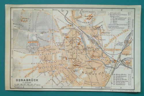 """GERMANY Osnabruck Town Plan - 1912 MAP 4 x 6"""" (10 x 15,5 cm)"""