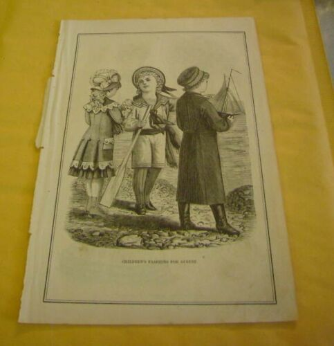 1800s Lithograph of Childrens Fashions for August