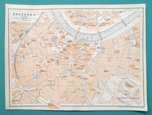 "GERMANY Dresden City Town Center Plan - 1912 MAP 6 x 8"" (15 x 20 cm)"
