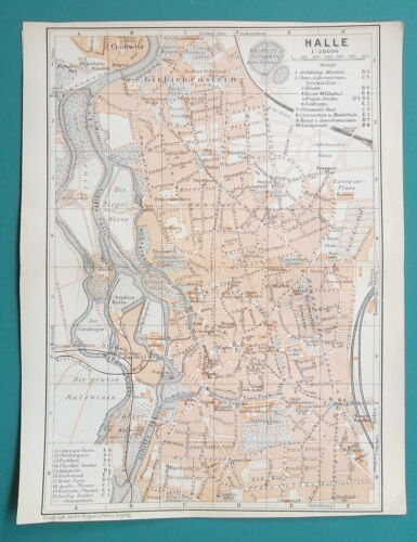 """GERMANY Halle City Town Plan - 1912 MAP 6 x 8"""" (15 x 20 cm)"""