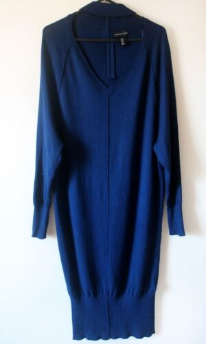 Adrienne Vittadini Dress S 8 10  Blue Soft Knit Long Sleeve Midi Sweater Dress