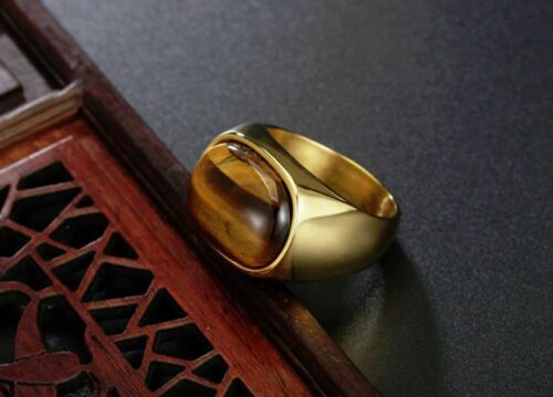 18K GOLD EP TIGER EYE OVAL CUT MENS DRESS RING SIZE 7-15 YOU CHOOSE cat eye