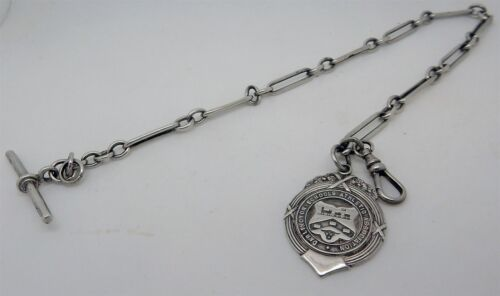 Antique 1905 English Hallmarked 28g Albert Watch Chain Birmingham with Fob
