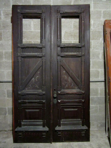 ~ MAGNIFICENT ANTIQUE CARVED OAK DOUBLE ENTRANCE FRENCH DOORS ~ 60 X 107 SALVAGE