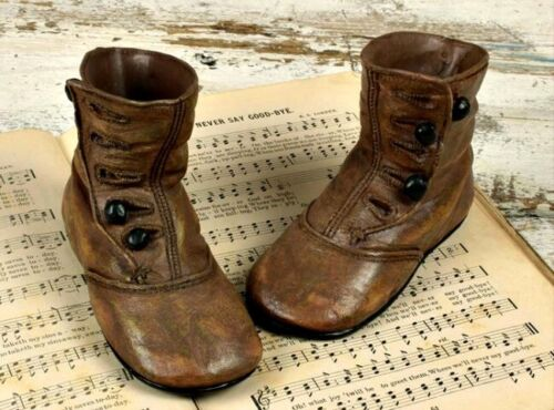 Vintage Reproduction`Child's/ Baby`Resin` High Button Shoes`Honey and Me`