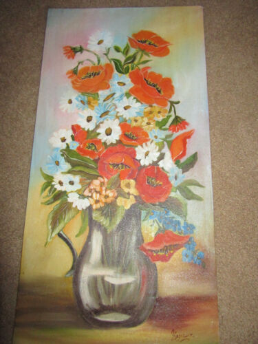 Vintage poppy daisy flower floral hand painted original PAINTING by  Genena
