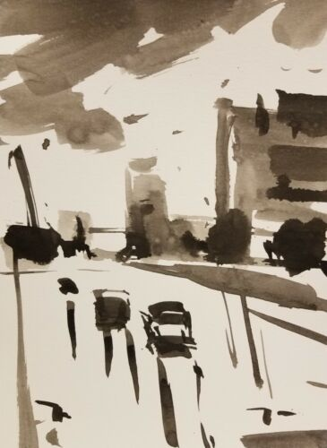 JOSE TRUJILLO -- ABSTRACT EXPRESSIONISM INK WASH City Buildings Street ART 9X12