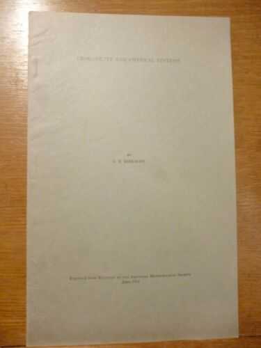 George David Birkhoff PROBABILITY AND PHYSICAL SYSTEMS 1932 estratto