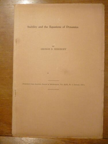 George David Birkhoff  STABILITY AND THE EQUATIONS OF DYNAMICS 1927 estratto