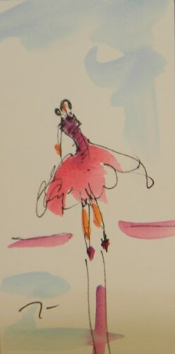 "JOSE TRUJILLO ORIGINAL Watercolor Painting SIGNED Woman 6X6"" Ballet Dancer Dress"