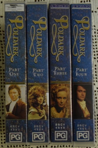 POLDARK BBC SERIES VIDEO VHS PAL SET: 4 VIDEOS Parts 1-4 Winston Graham CORNWALL