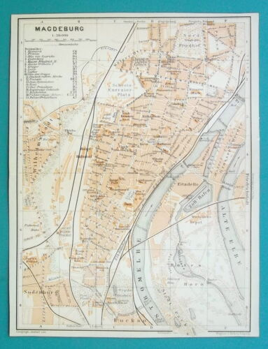 "GERMANY Magdeburg City Town Plan - 1912 MAP Baedeker 6 x 8"" (15,5 x 20 cm)"