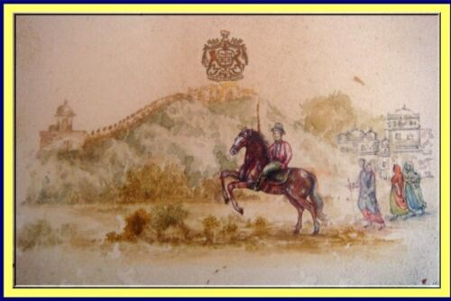 British Raj Miniature Painting Horseman India Victorian Antique (3940)