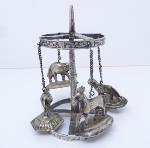 Antique Silver Carousel Spinning toy Elephant Lion Zebra Bird Indian (5744)