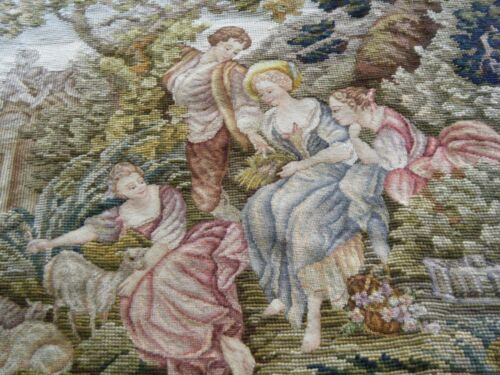 Antique Berlin Woolwork Needlepoint petitpoint bigTapestry After the nest France