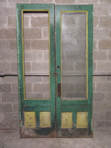 ~ ANTIQUE DOUBLE ENTRANCE FRENCH DOORS ~ 53 x 94 ROUGH ~ ARCHITECTURAL SALVAGE ~