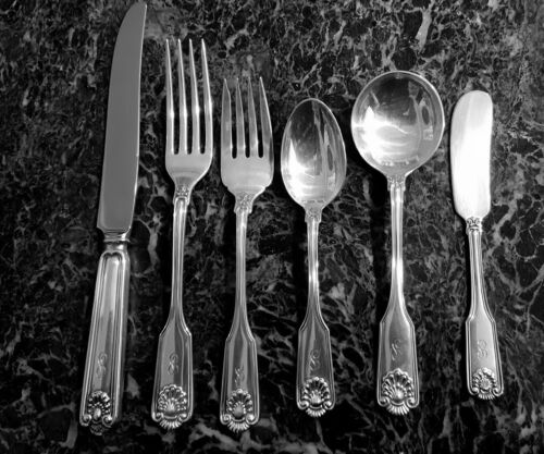 6 Piece Place Setting Fiddle Shell By Frank Smith Sterling Silver S or L Mono.