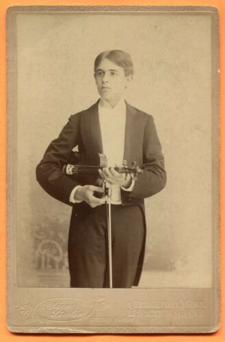 Bridgeport, CT, Portrait of Young Man with Violin, by Price, circa 1890s