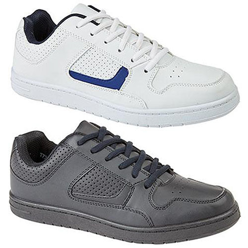 Mens Wide Fitting Trainers Black / White Lace Up Sizes UK 6 - 12