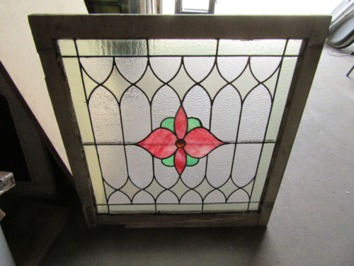 ~ ANTIQUE STAINED GLASS WINDOW FLOWER ~ 33 X 35.75 ~ ARCHITECTURAL SALVAGE ~