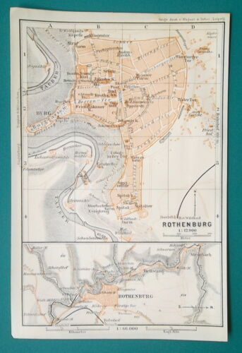 GERMANY Rothenburg Town Plan Good for Genealogy Research - 1910 MAP Baedeker
