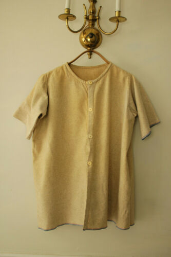 Shirt Vintage French wool ecru toned workwear w/ open pits 1900-1930 button upOther Militaria - 135