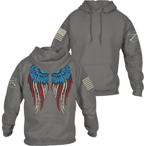 Grunt Style Women's Relaxed Fit Freedom Angel 2.0 Pullover Hoodie - Gray <br/> Exclusive Seller of Grunt Style on eBay