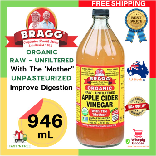 Bragg Organic Apple Cider Vinegar with The Mother Raw Unfiltered Detoxify 946 mL