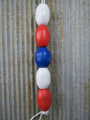 5 Old Fish Net Floats - Red, White, Blue -XBW285
