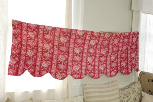Quilted Valance Antique French 1860 hand block printed red fabric floral textile