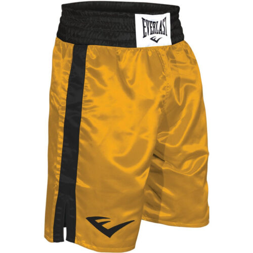 Everlast Standard Top of Knee Boxing Trunks - Gold/Black <br/> Authorized Dealer - Over 450,000 Feedbacks