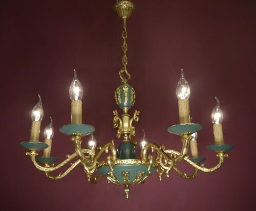 BAROQUE EMPIRE BRASS CHANDELIER 8 ARM GREEN CEILING LAMP FIXTURES  LUSTRE USED