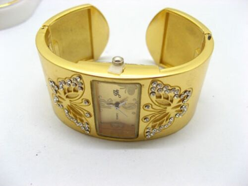 6Pcs Women Golden Butterfly Carved Bangle Cuff Watches