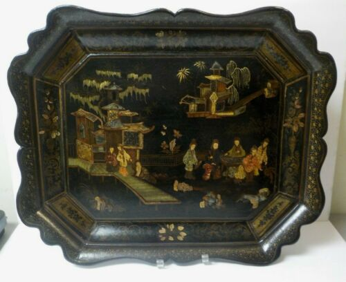 """Early 19th C. Black Lacquer Chinoiserie Decorated 23.75"""" Tray - Stunning!"""