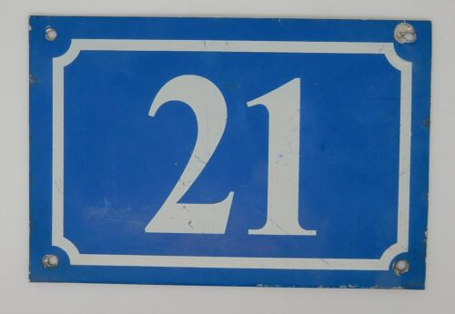 Vintage English or French Metal Blue & White House Number 21 From England