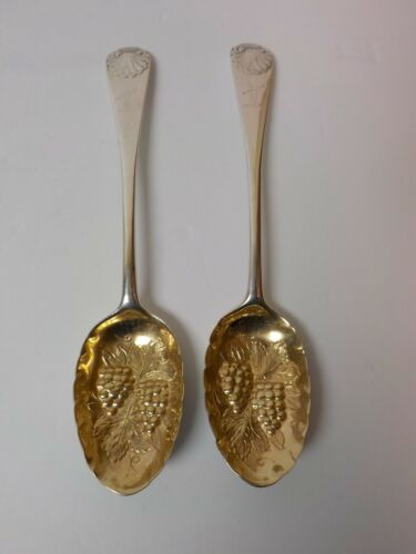 Pair English Sterling Silver Partial Gilt BERRY Spoons, London, c. 1894