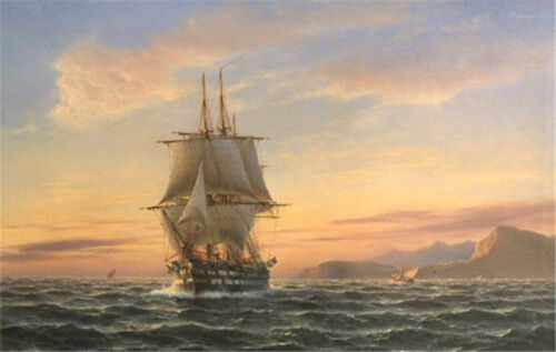 CHOPT702 hand paint seascape landscape sailing big boat oil painting art canvas