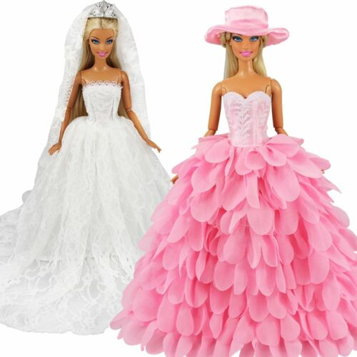 White Wedding Dress With Veil & Pink Princess Gown Dress Outfit For Barbie Doll