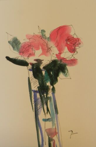 JOSE TRUJILLO ORIGINAL Watercolor Painting Expressionism 6X9 Pink Roses Bouquet