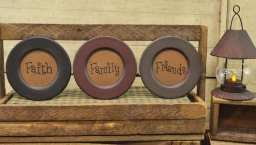 Country Farmhouse Wooden Faith Family Friends Carved Plates Set of 3