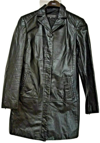 EXTE FEMME -ITALY SMART DESIGNER BLACK LEATHER JACKET UK 12 EU 44 US 8