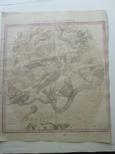"1856 BURRITT'S ""THE CONSTELLATIONS"", APRIL THRU JUNE, GEOGRAPHY OF HEAVENS ATLAS"