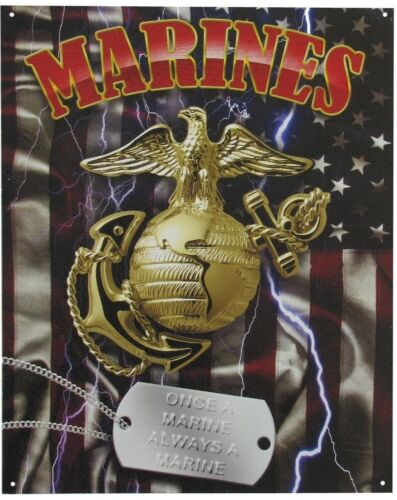 Vintage Replica Tin Metal Sign United States marine corp USA military navy 98464Army - 66529