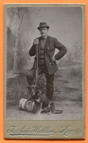 CDV Korsnas, Sweden, Portrait of Man with Shotgun & Dog, by Hedblom circa 1900s