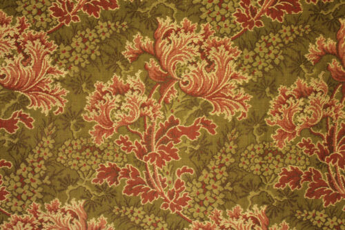 Antique French fabric 19th century jacquard weave pink & green tones reversable